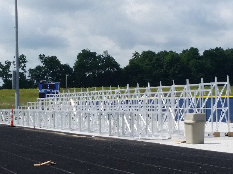 Bleacher installation has started.